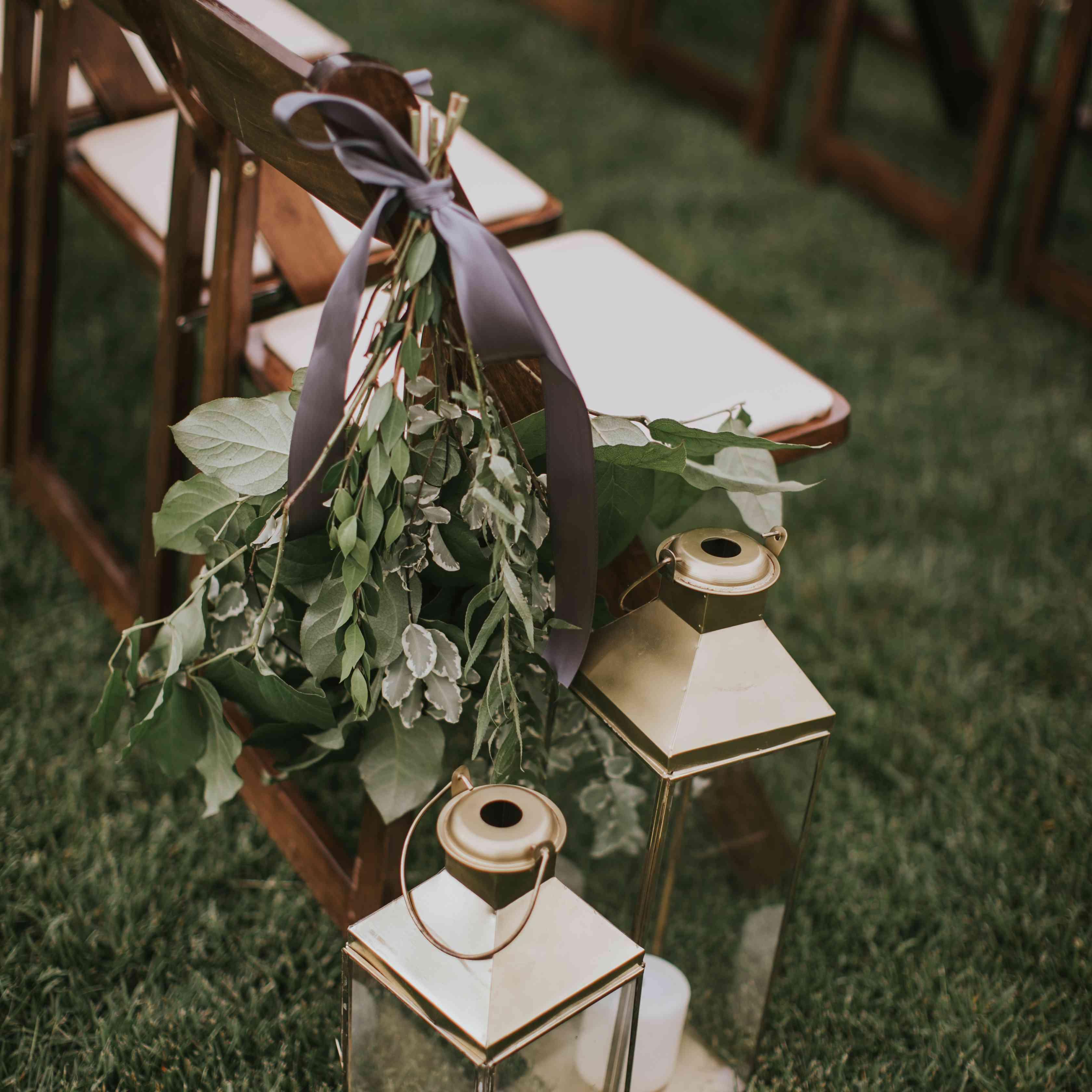 Lanterns on ceremony chair