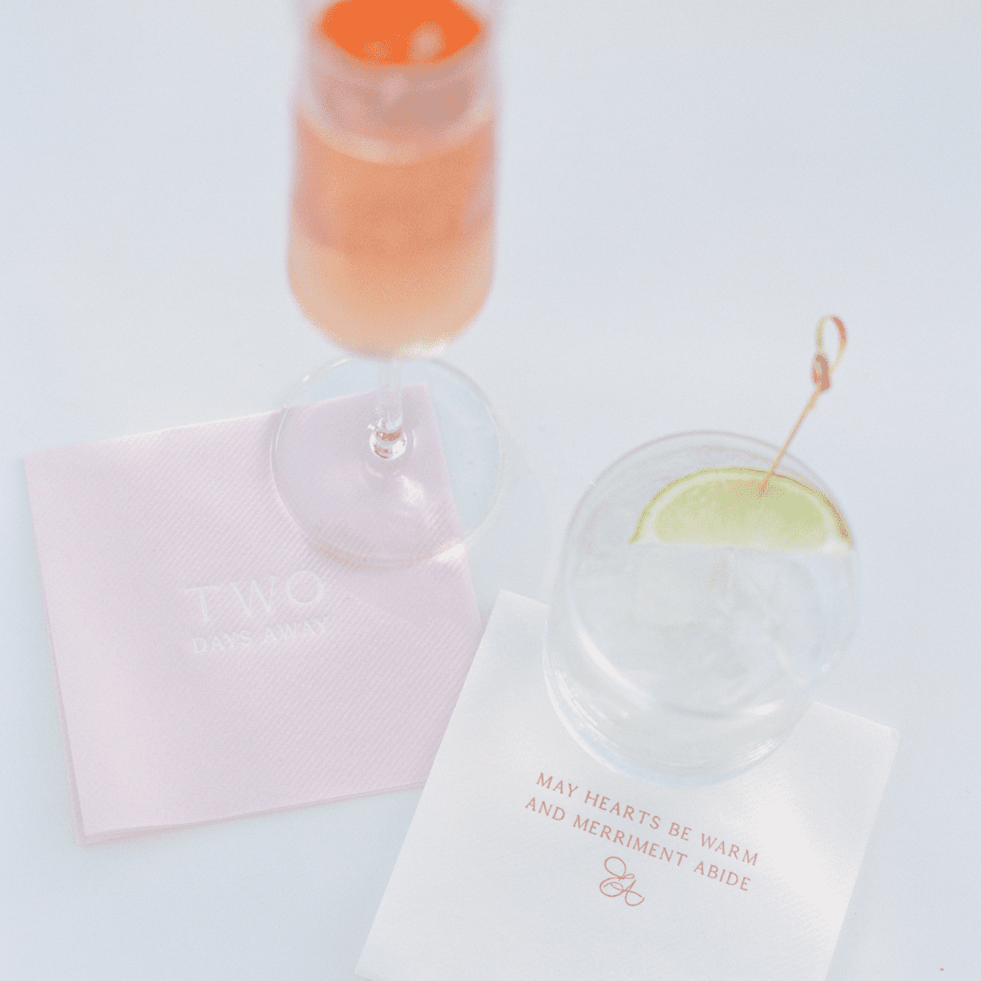 cocktail napkins with drinks