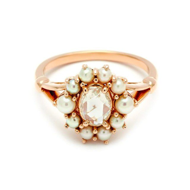 cluster ring with pearls