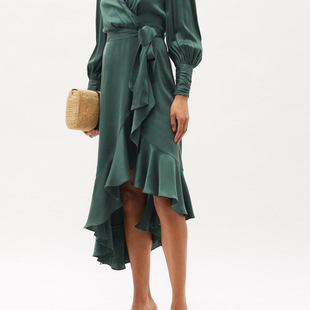 Zimmermann Bishop-Sleeve Silk Wrap Midi Dress