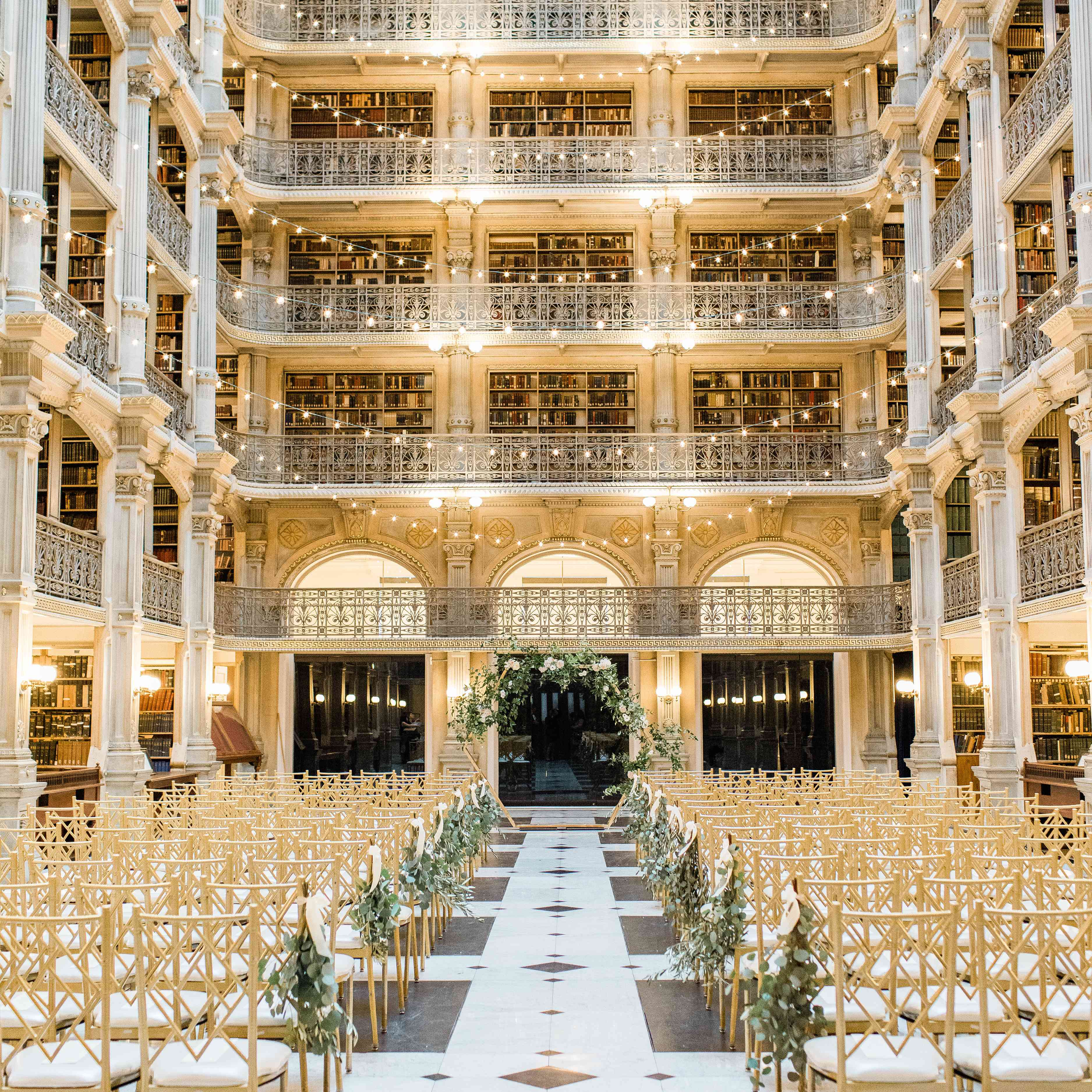 George Peabody Library wedding venue with fairy lights