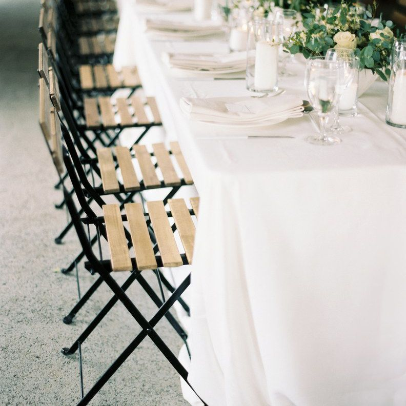 White reception table setup