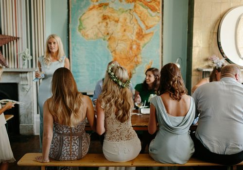 Bride at table