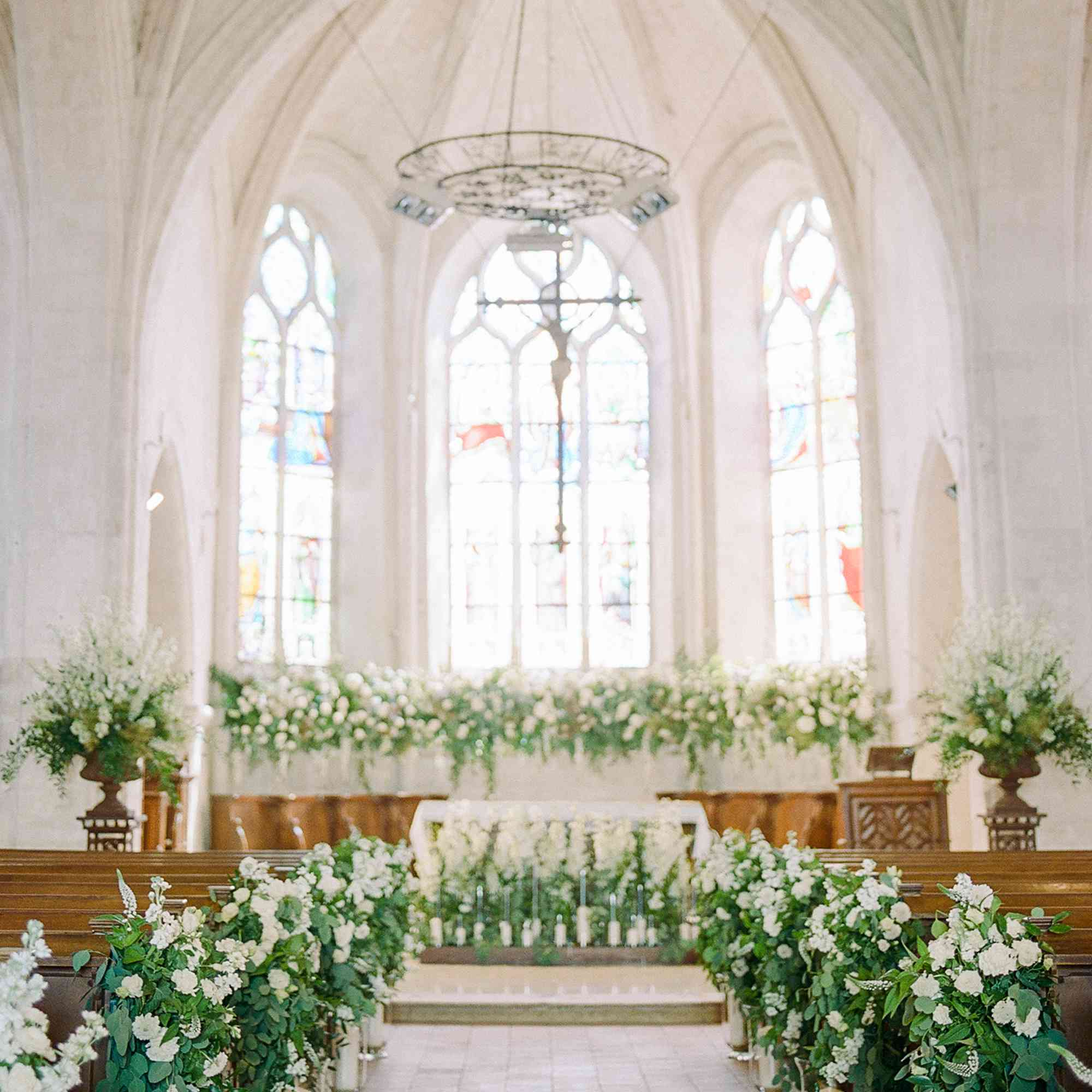 <p>Ceremony venue filled with florals</p><br><br>