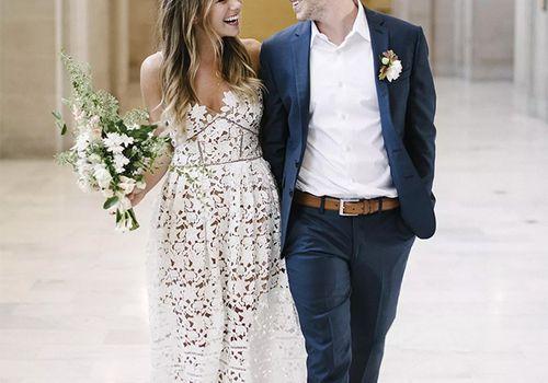 Happy couple in city hall