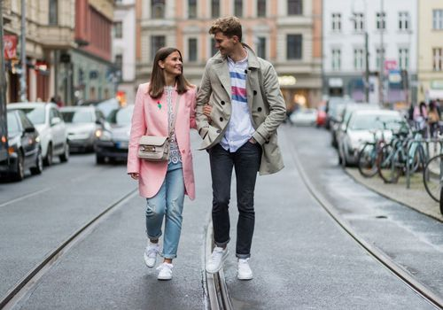 couple walking down the street