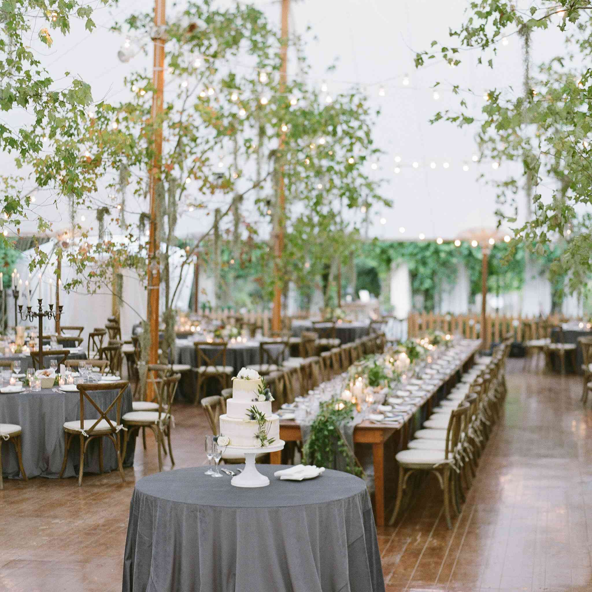 Leafy trees sprinkled throughout a tented reception.