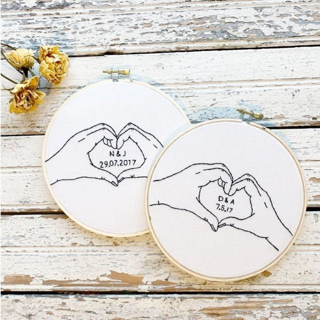 Thread the Wick Cotton Heart Embroidery