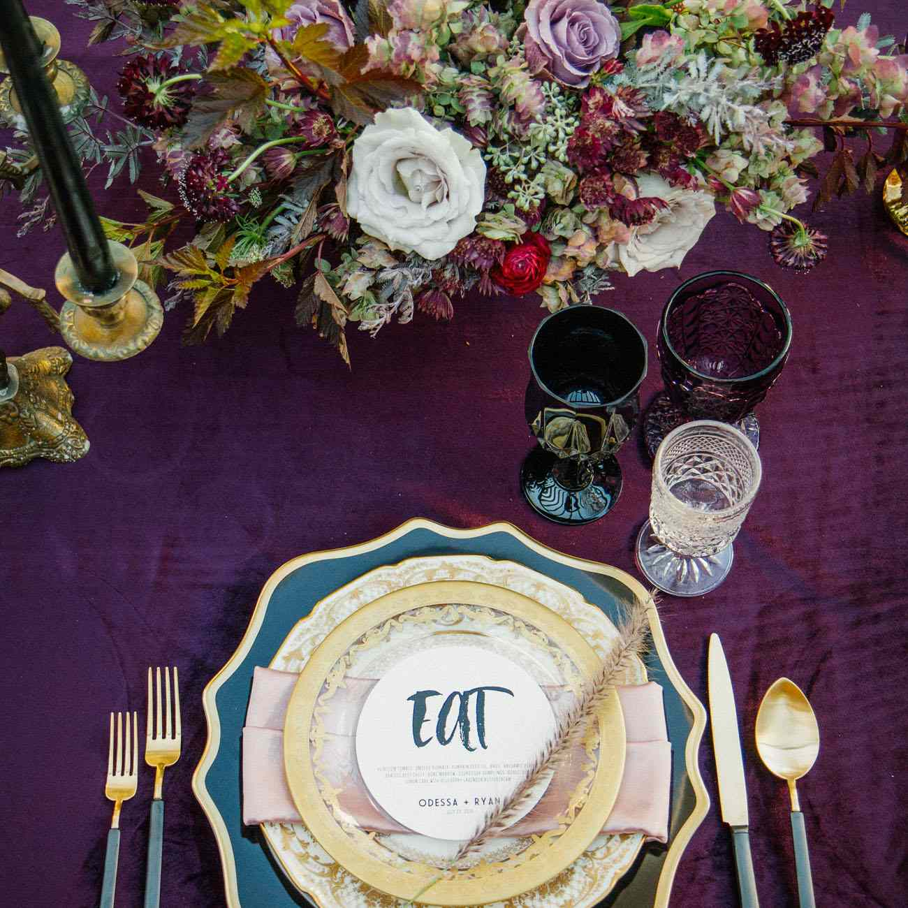 Plum and Gold Table Setting