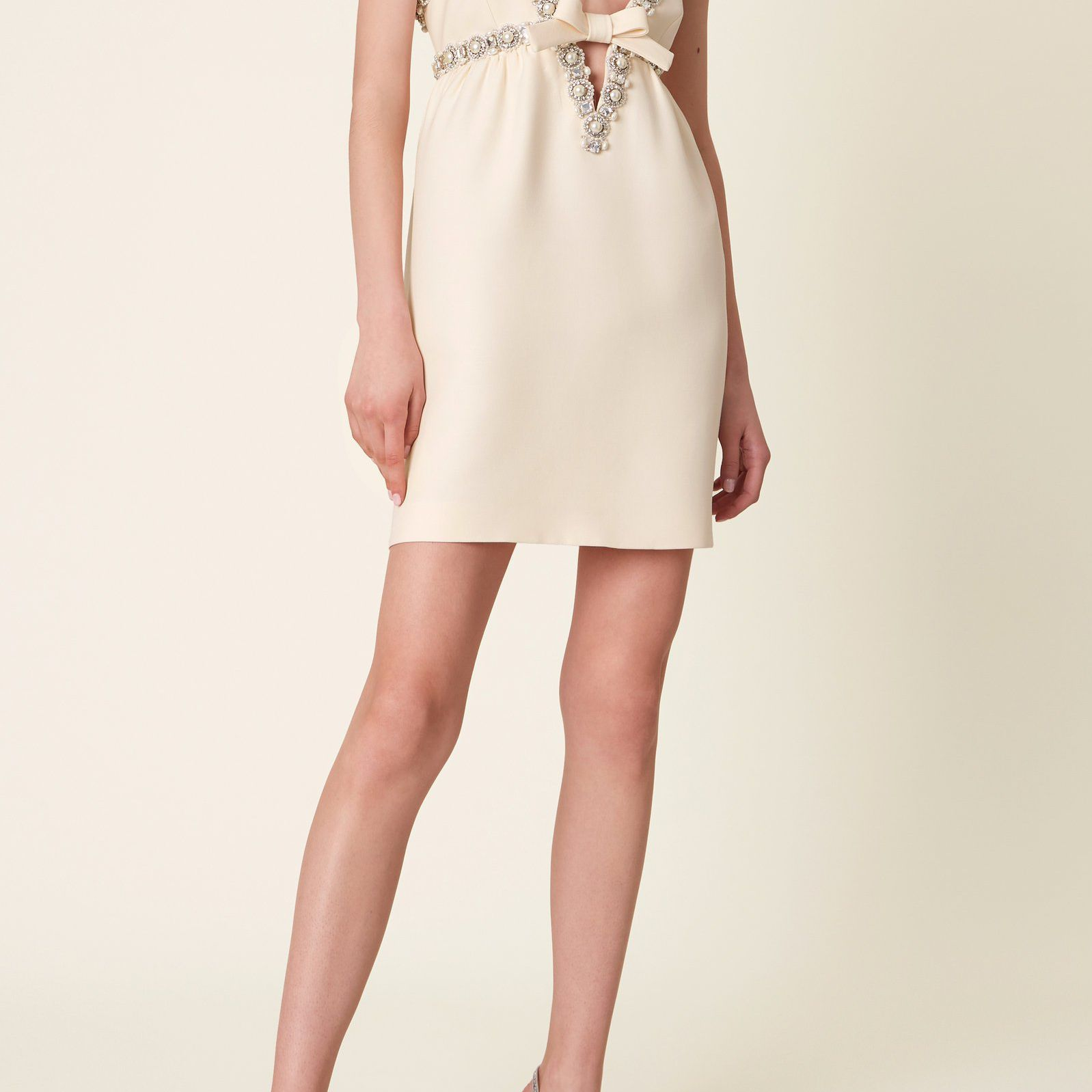 Miu Miu Pearl and Crystal Embellished Crepe Mini Dress