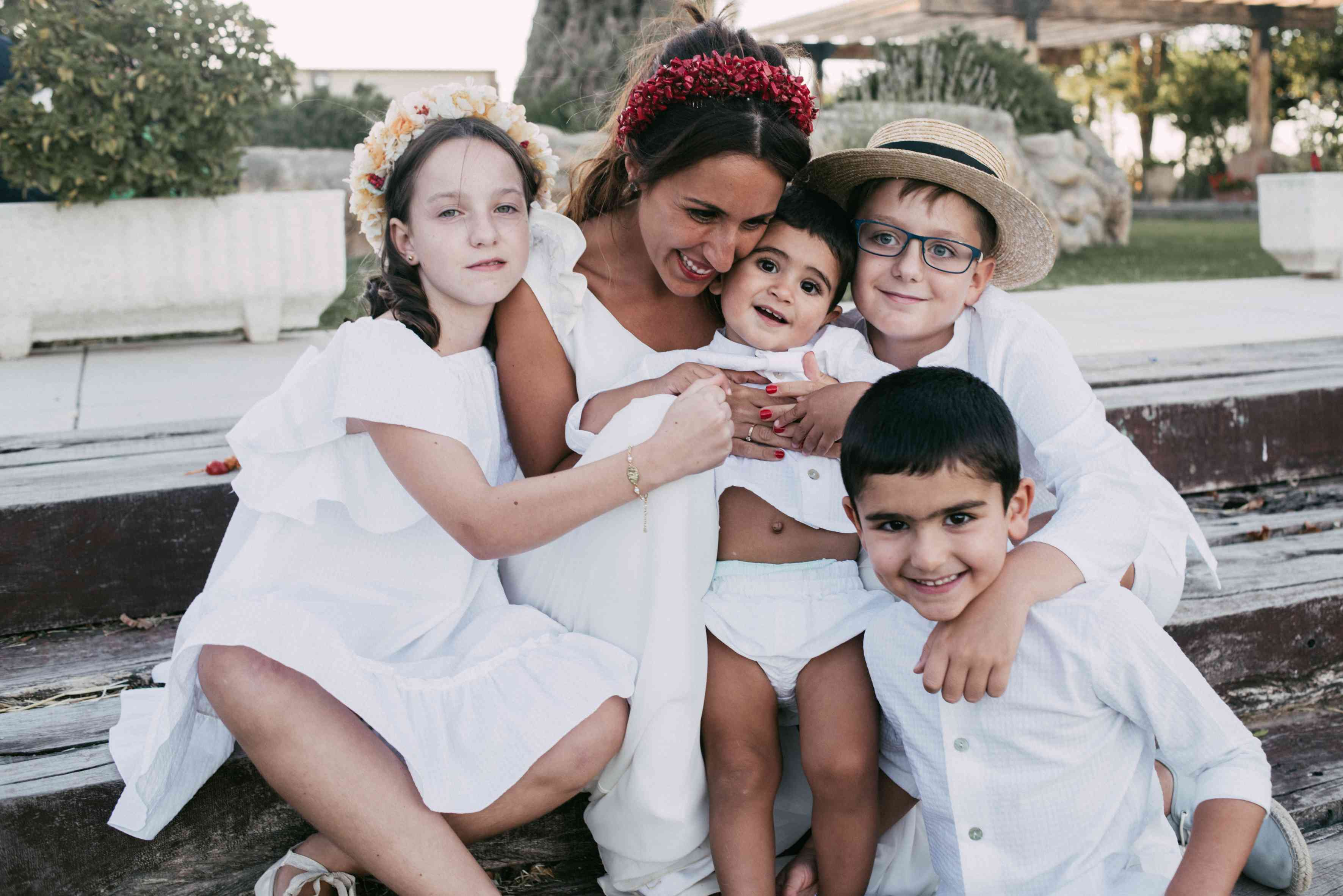 Bride with flower girl and ring bearers