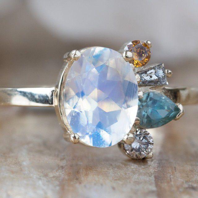 moonstone cluster ring