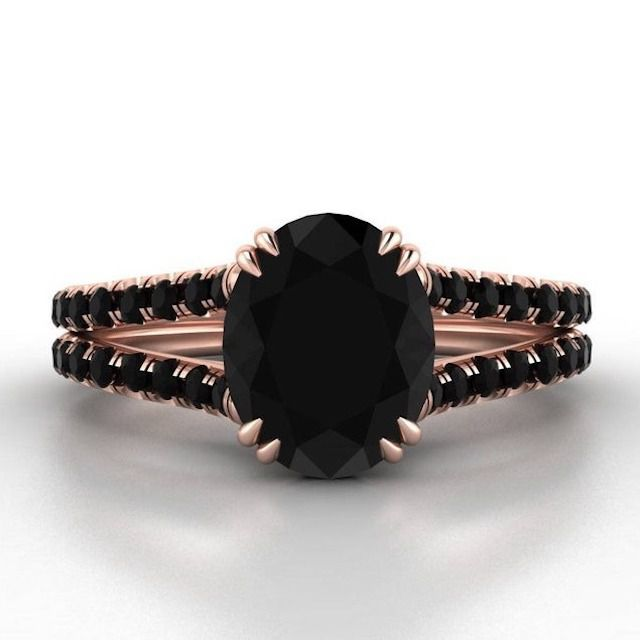Armante Design Oval Black Diamond Engagement Ring