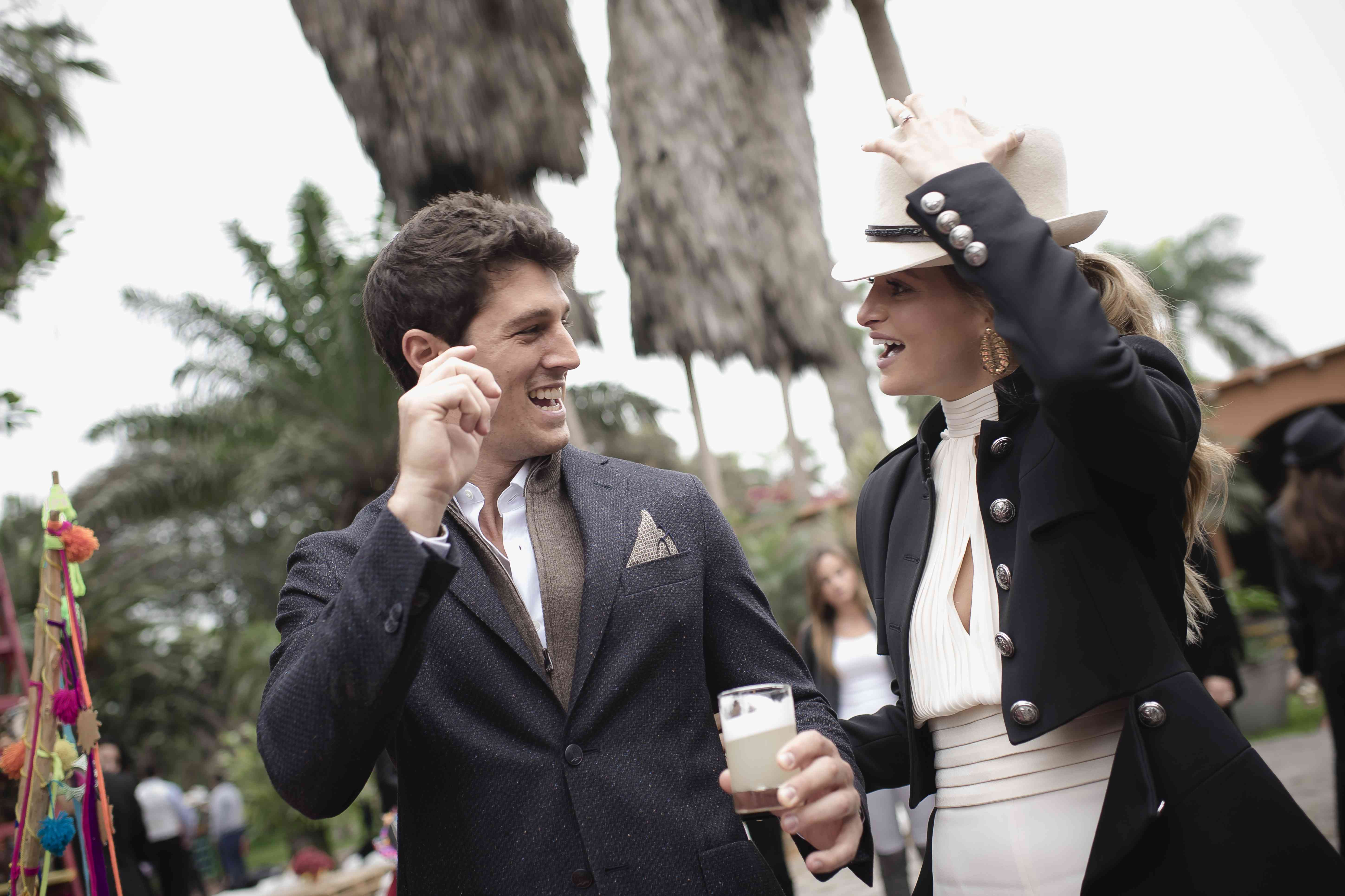 <p>Bride and groom laughing</p><br><br>