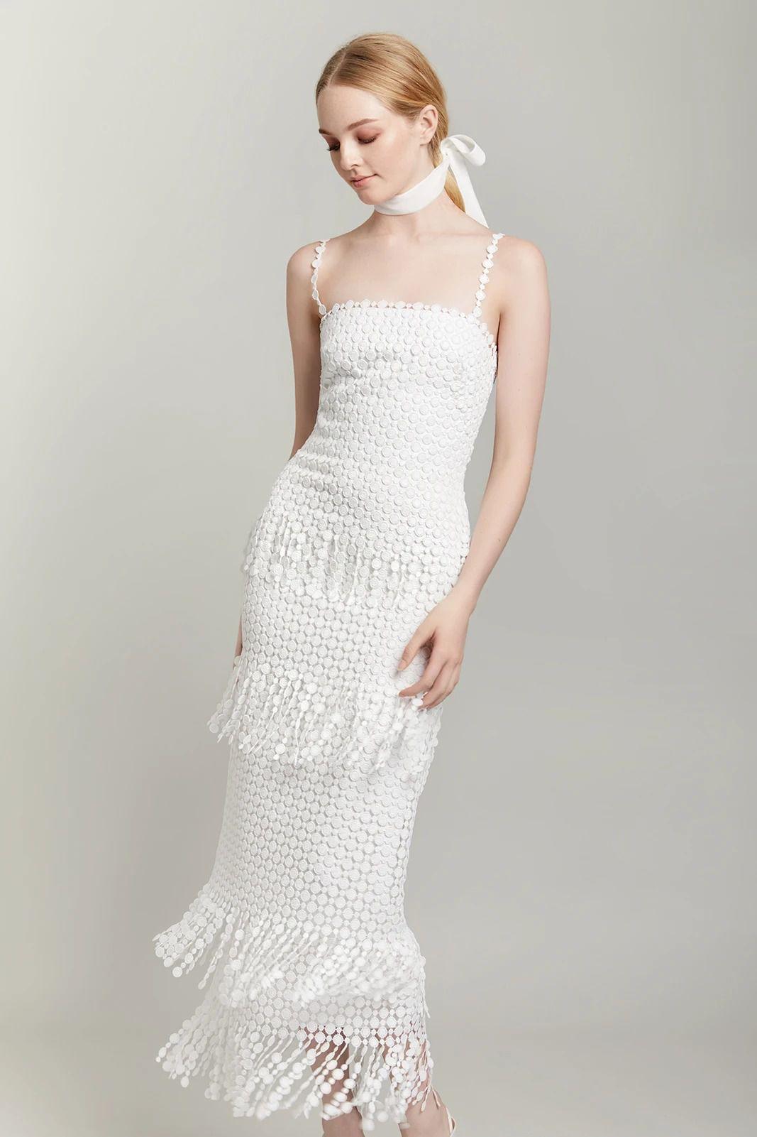 Lela Rose The Dawson Sheath Dress with spaghetti straps