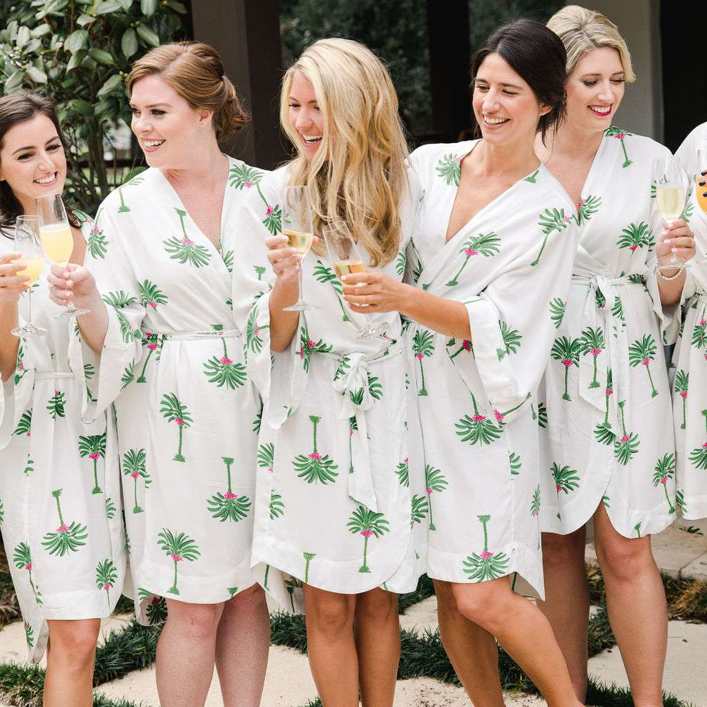 timeless southern wedding, bride with bridesmaids in matching robes