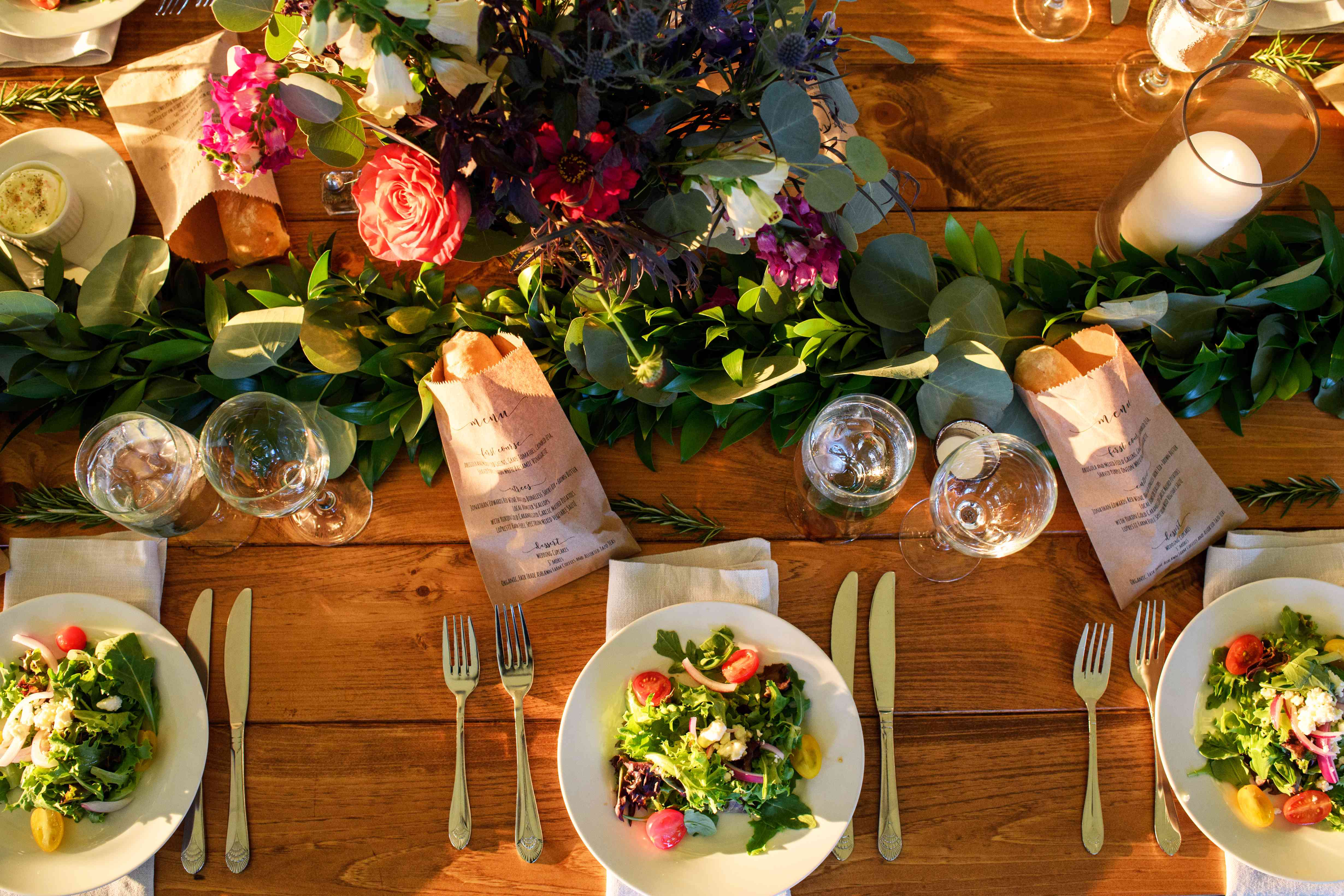 A table with food and wine