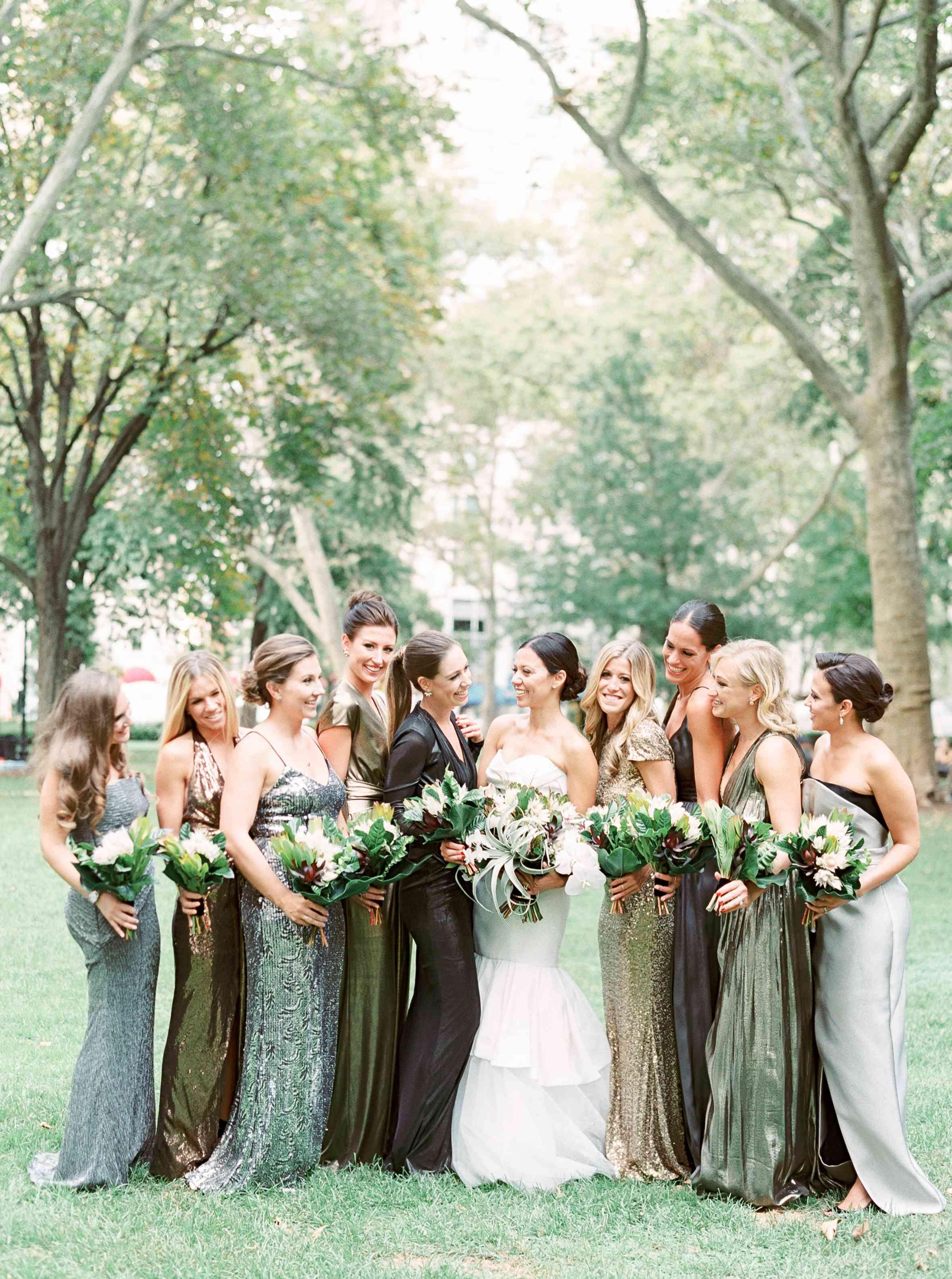 Bride with Bridesmaids in Mismatched Metallic Bridesmaid Dresses