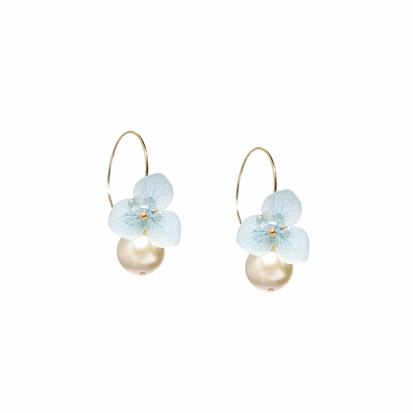 Flower earrings on a white background.