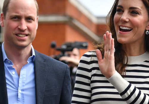 Catherine, Duchess of Cambridge and Prince William, Duke of Cambridge wave to well wishers