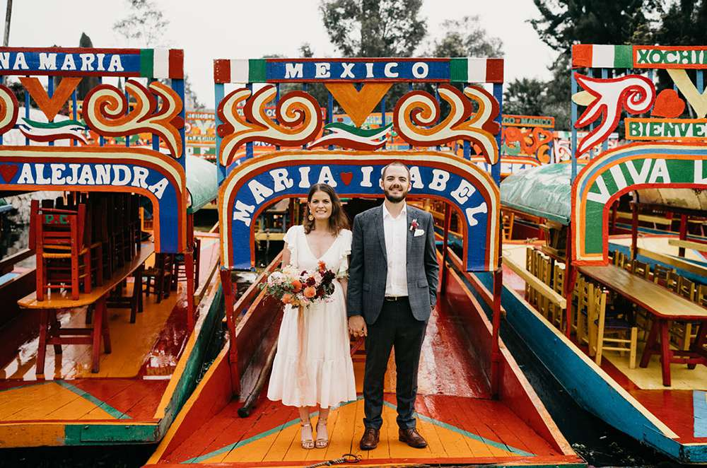 Mexico city elopement on Xochimilco canal boat