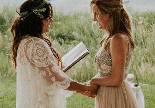 Brides reading vows
