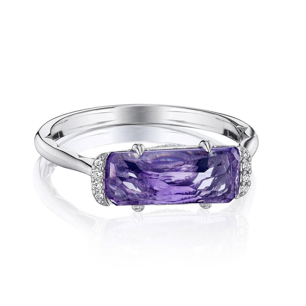 Tacori Horizon Shine Amethyst and Diamond Emerald Ring