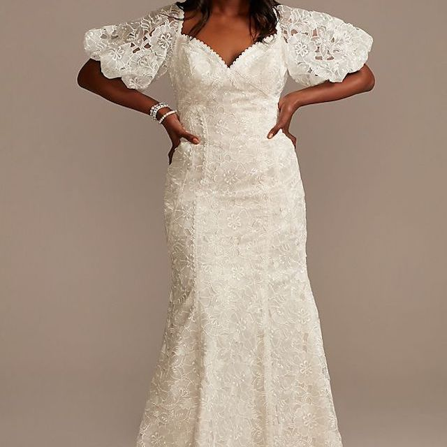 Melissa Sweet Puff Sleeve Plus Size Wedding Dress With Low Back