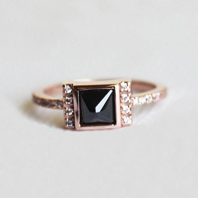 Capucinne Engagement Ring With Princess Cut Black Diamond
