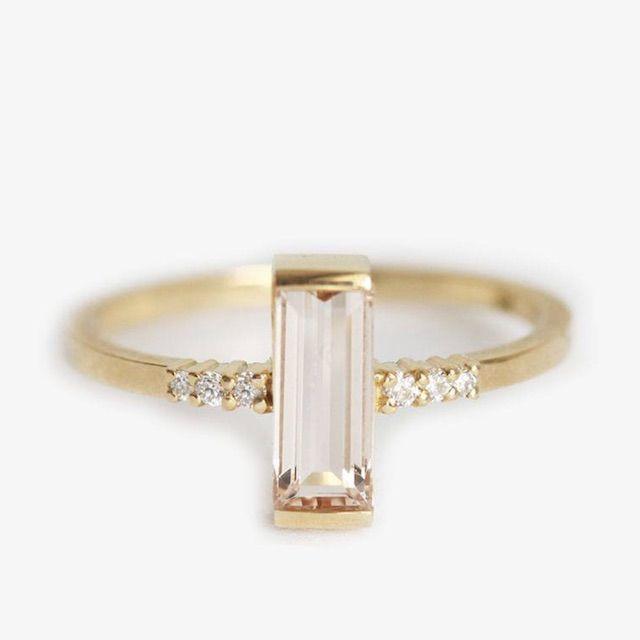 Capucinne Morganite Ring, Simple Morganite Ring