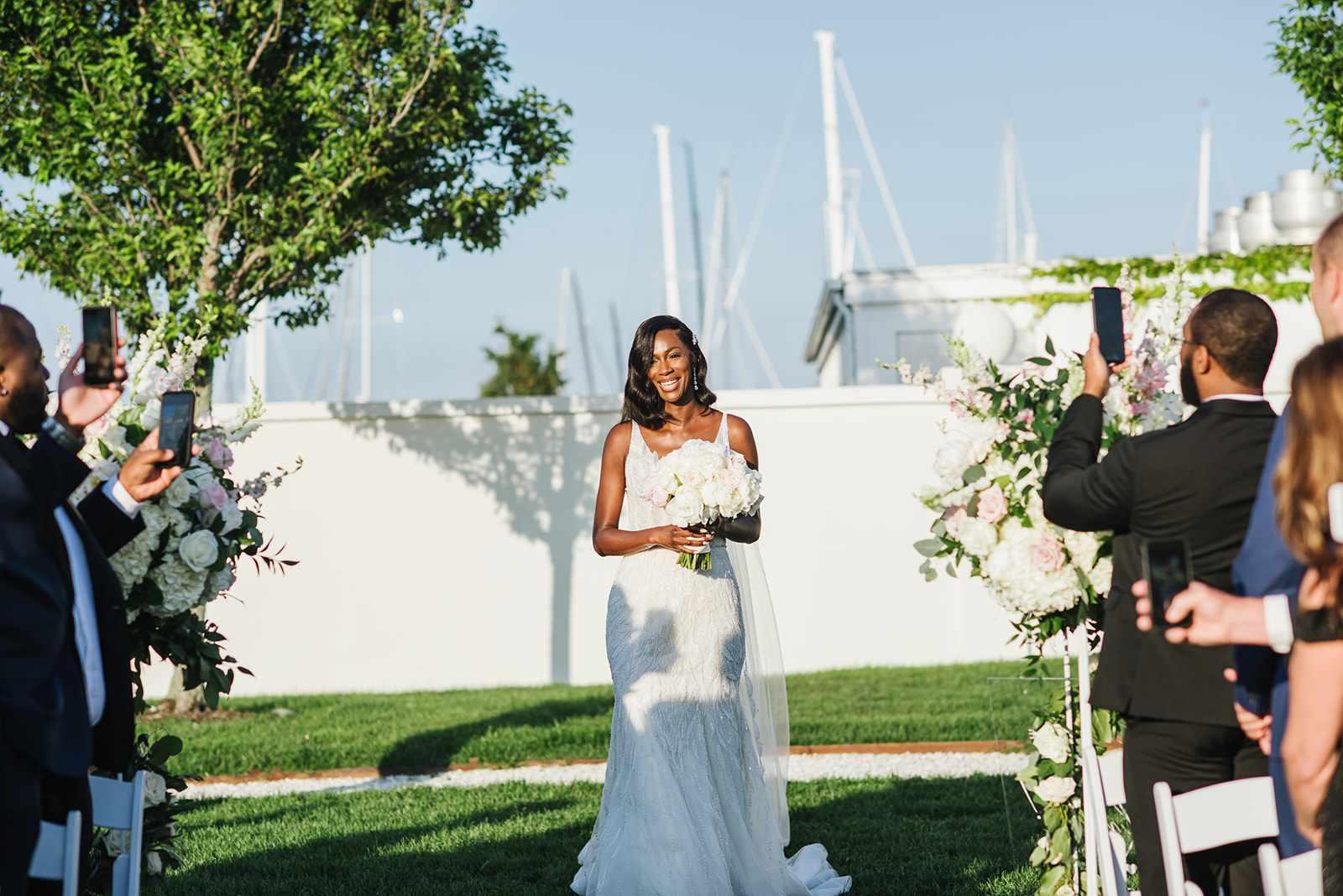 Bride making a grand entrance alone