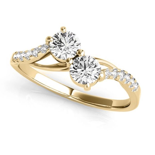 Allurez Curved Two Stone Diamond Ring