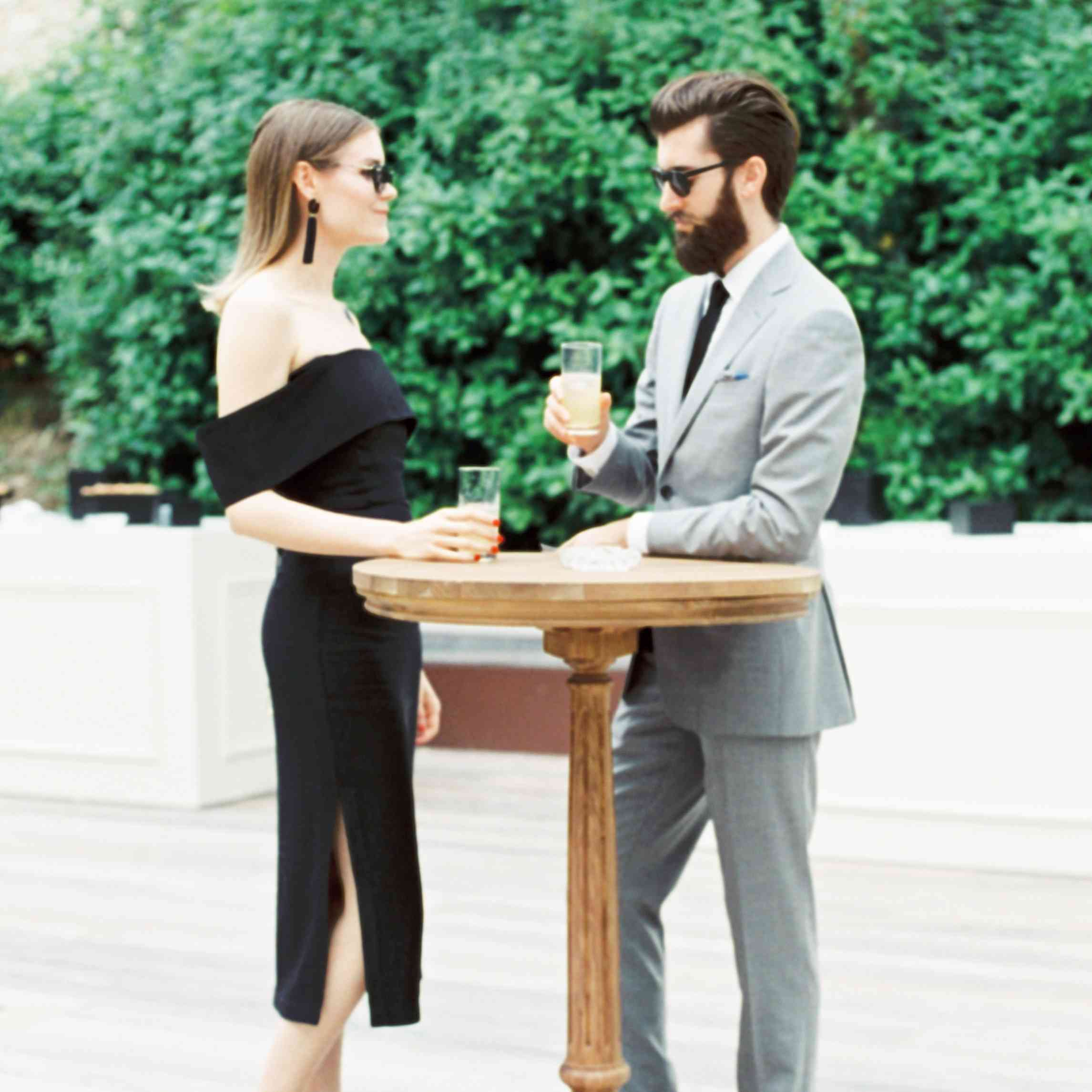 Couple enjoying cocktail reception