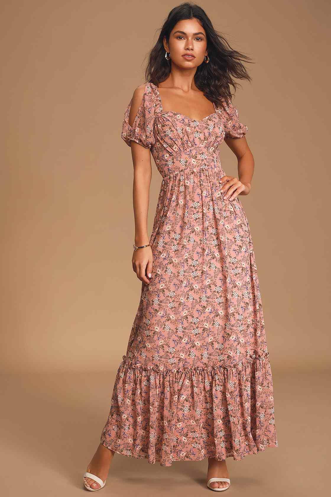 Feeling Fond Mauve Floral Print Puff Sleeve Maxi Dress $69