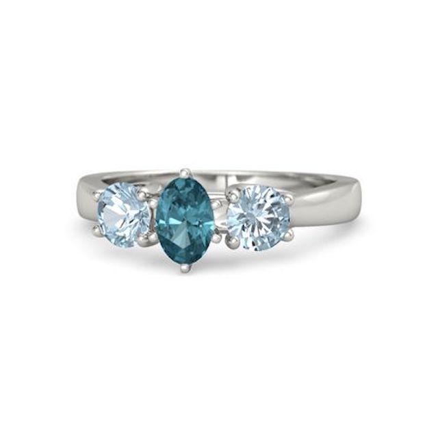 Gemvara Oval London Blue Topaz Palladium Ring