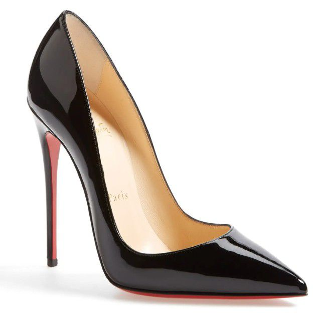 black pumps with red sole