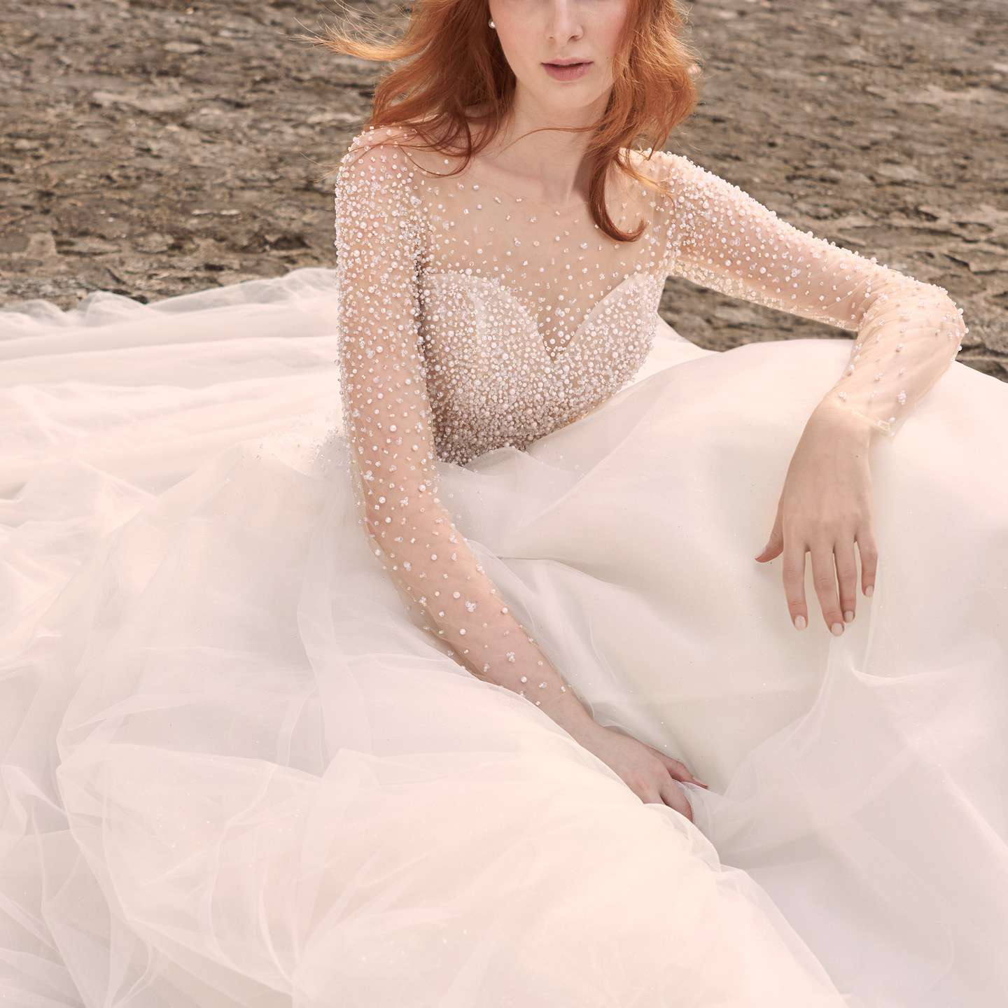 Maggie Sottero Rosette Pearl Long Sleeve Ball Gown Wedding Dress