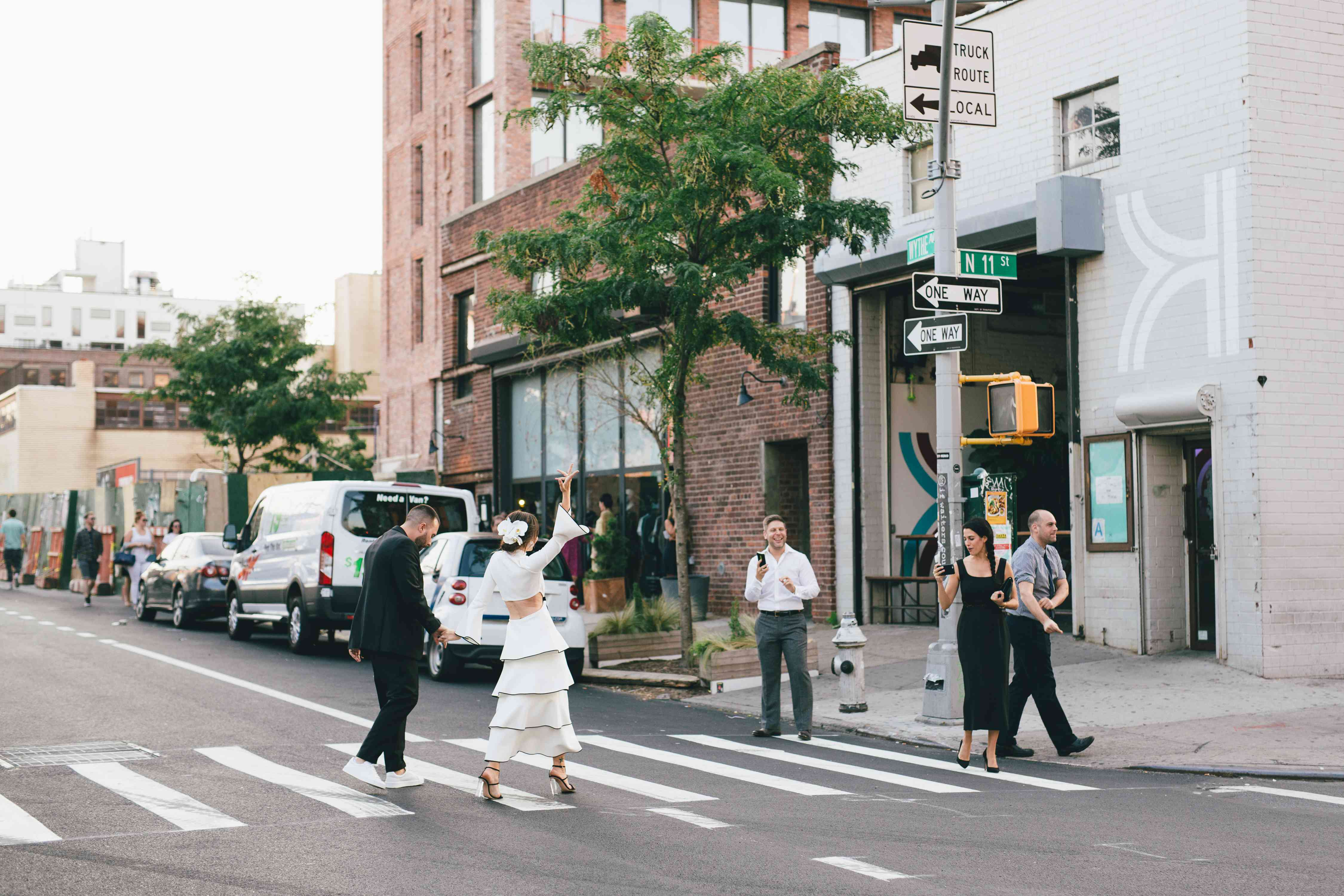 modern couple at crosswalk