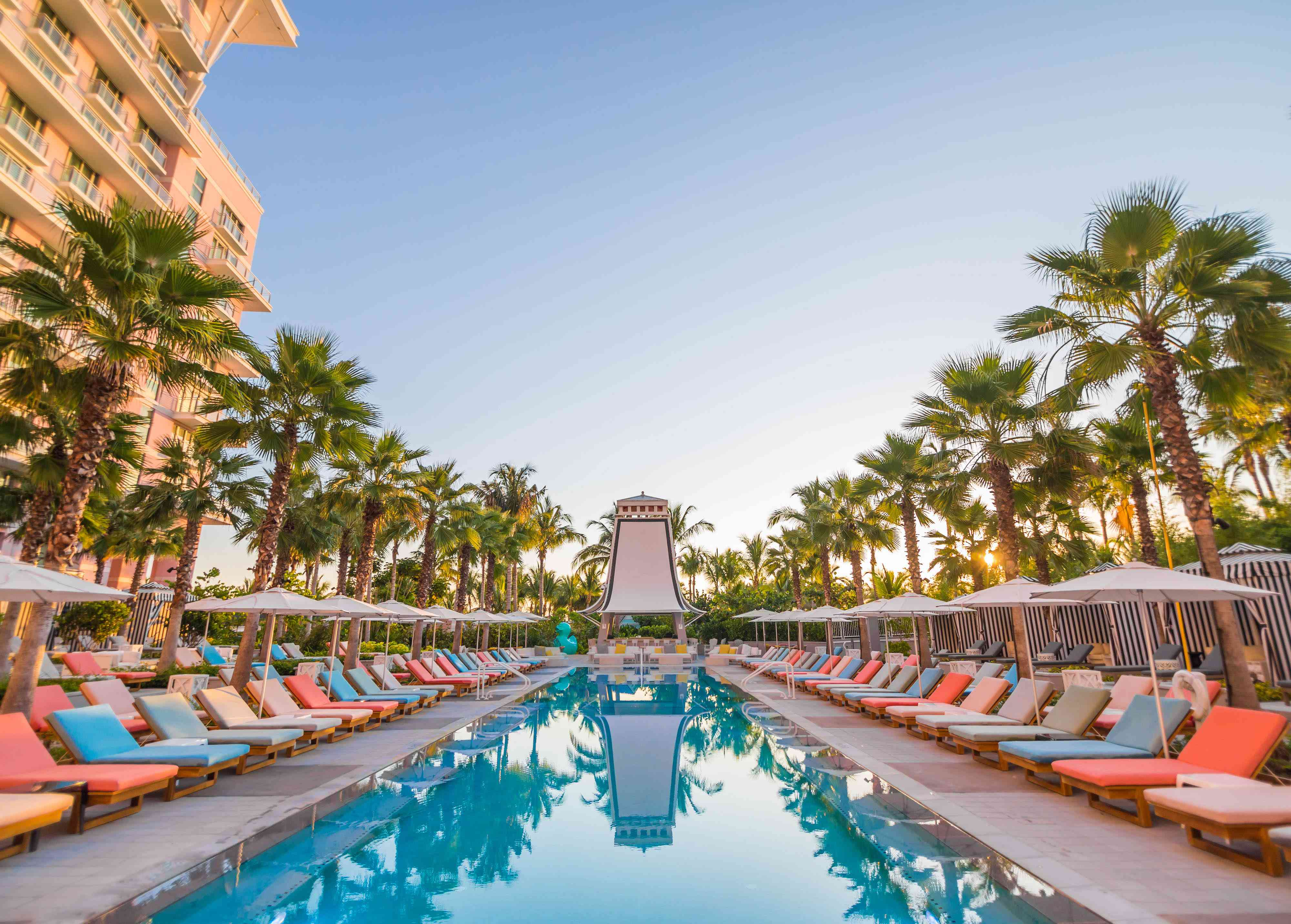 The Bungalow Pool and blue skies at SLS Baha Mar in Nassau