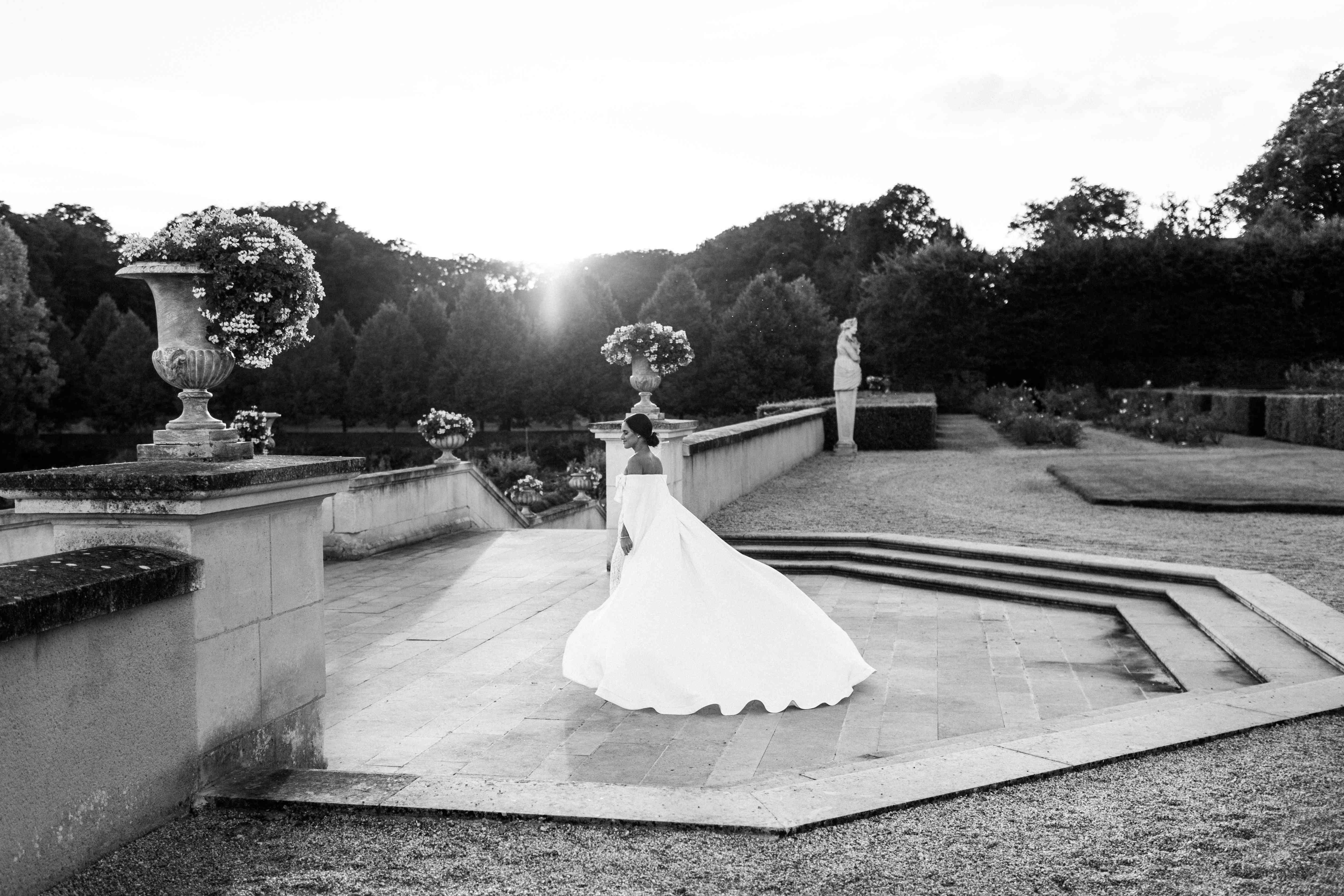 bride at chateau