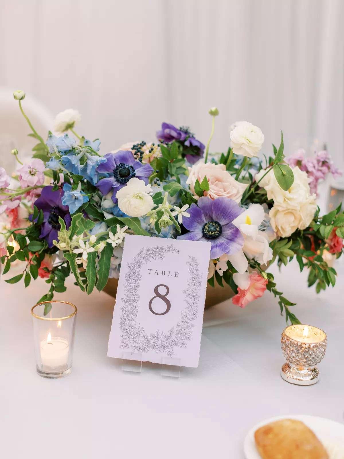 floral arrangement with purple