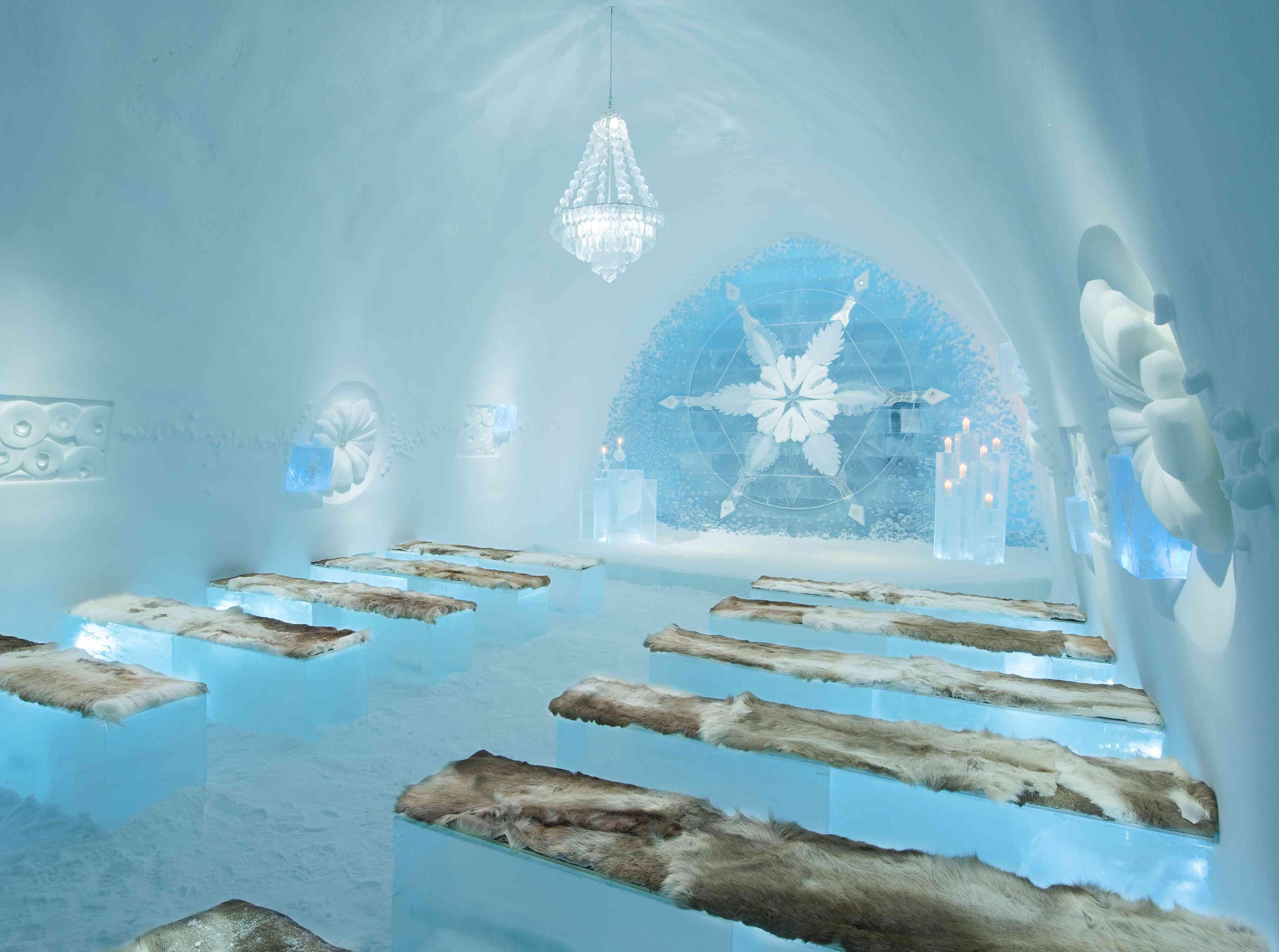 Wedding ceremony setup in IceHotel Sweden