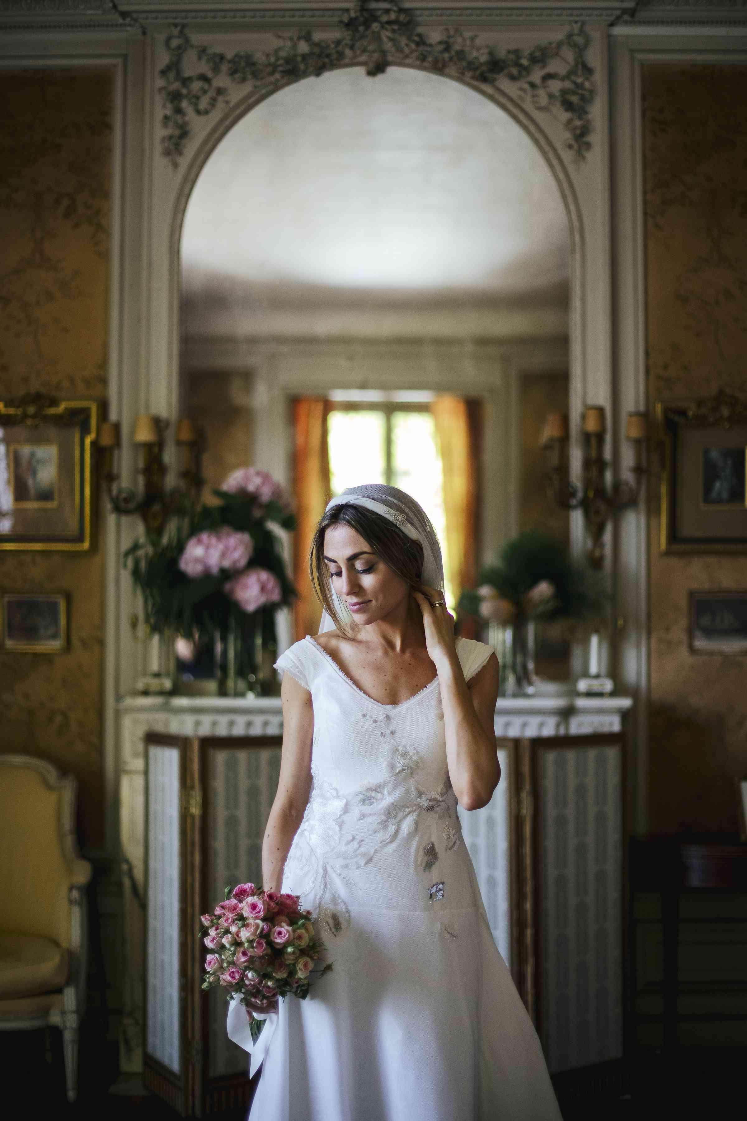 bride beauty shot cap sleeve wedding dress