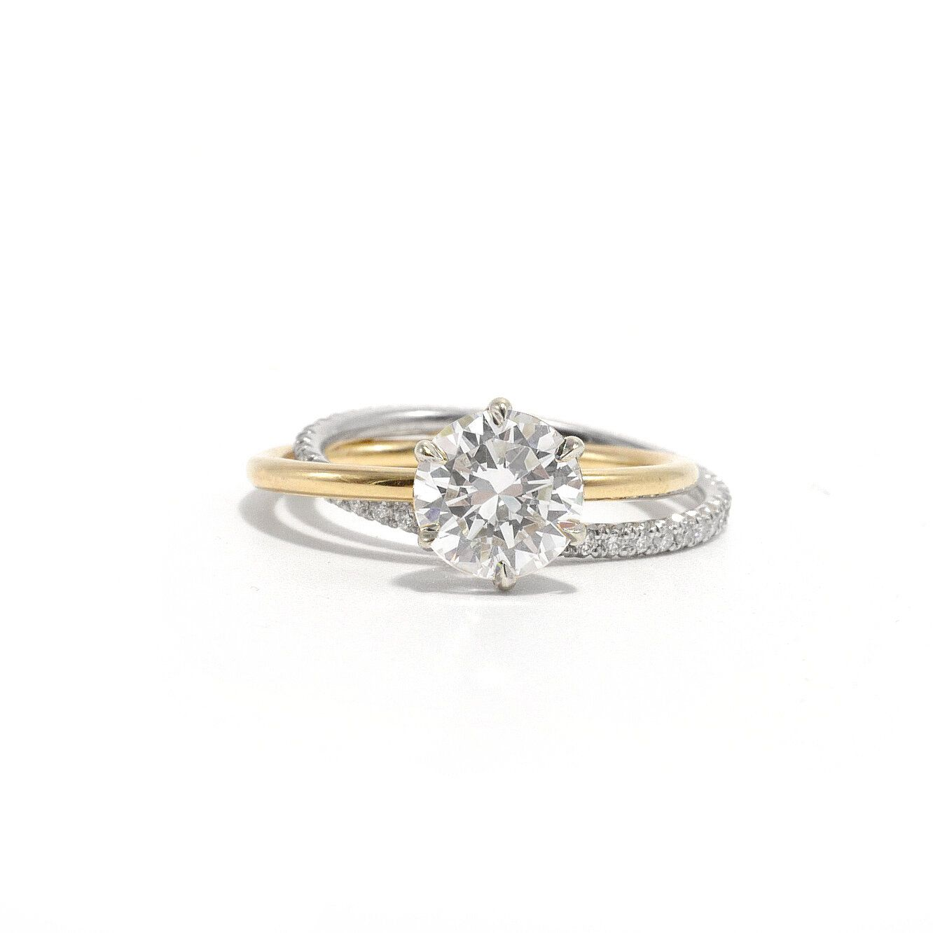 Rolling engagement ring rose gold