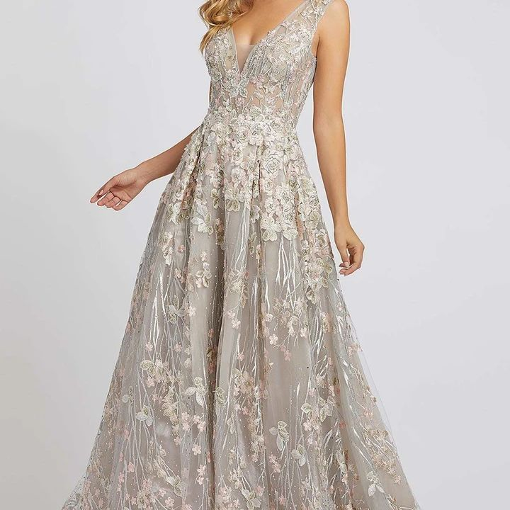 Model in floral A-line gown