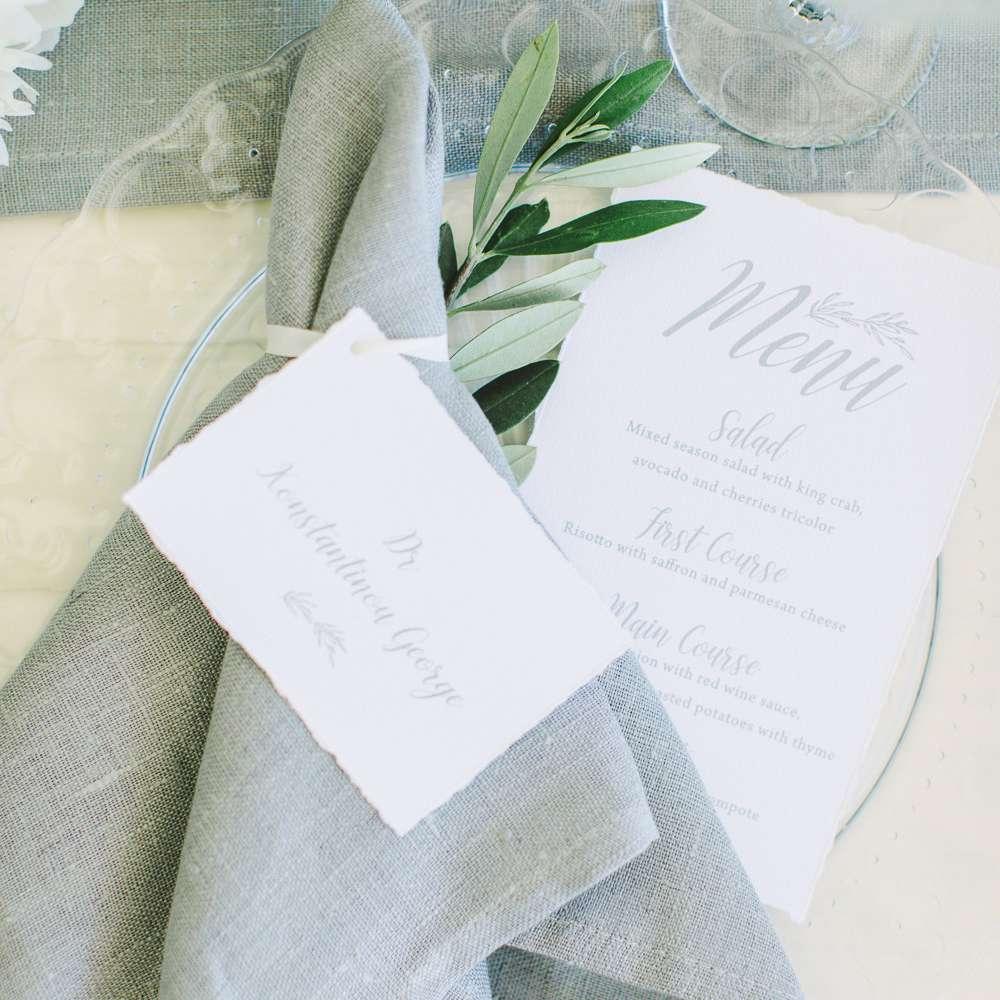 reception menus and grey napkins