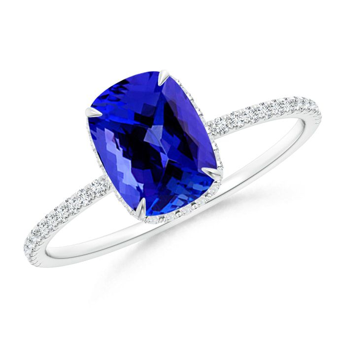 Thin Shank Cushion-Cut Tanzanite Ring with Diamond Accents