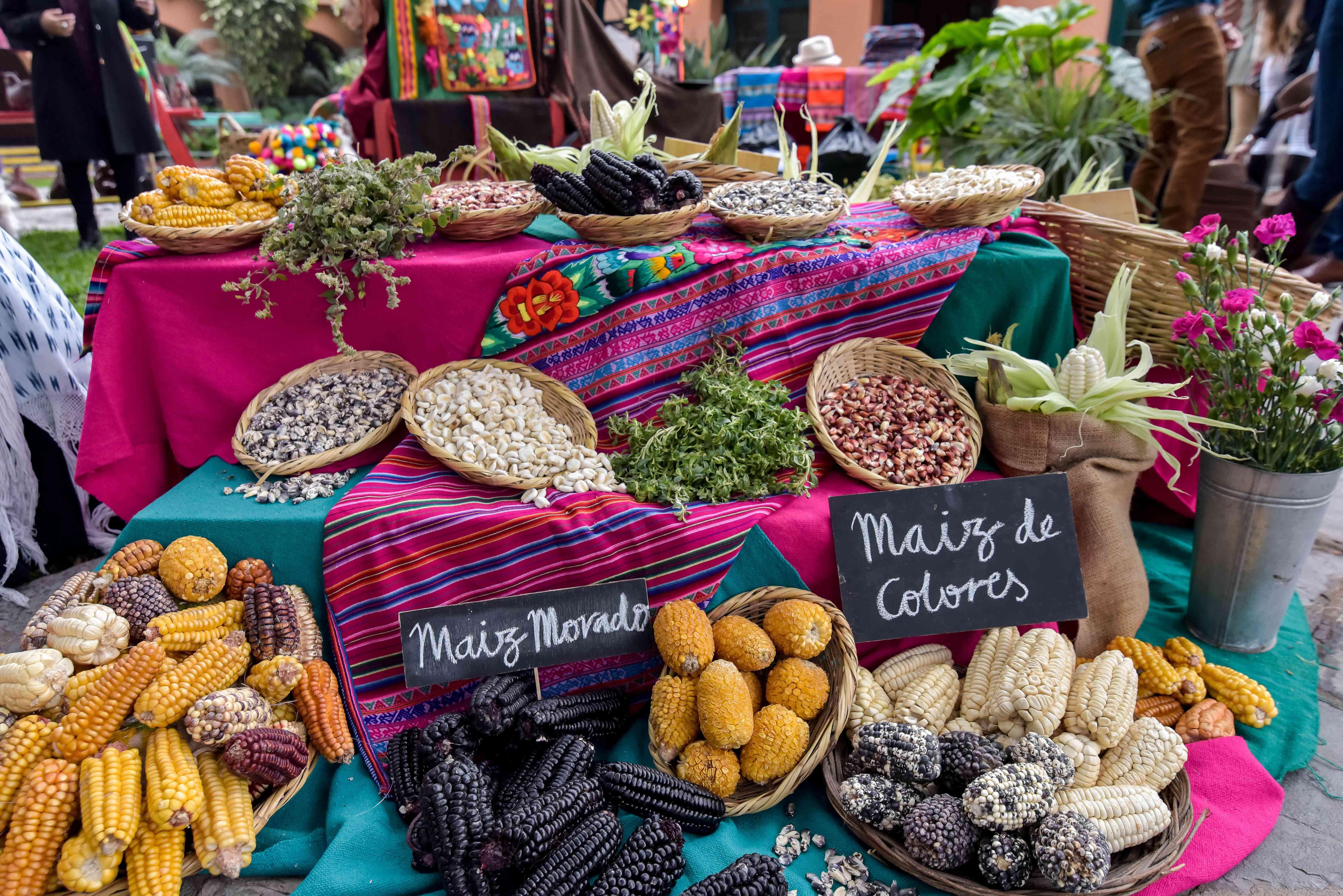 <p>Peruvian food display</p><br><br>