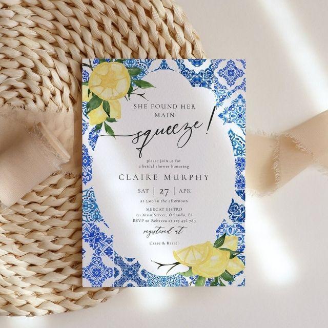 RosemaryLines Italian Blue Tile Lemon Bridal Shower Invitation Template