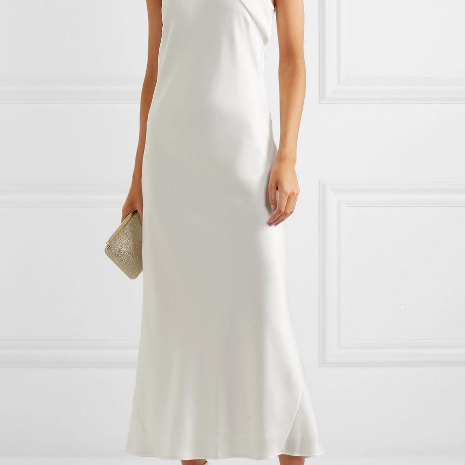 Galvan Pandora Silk-Satin Halterneck Midi Dress $975